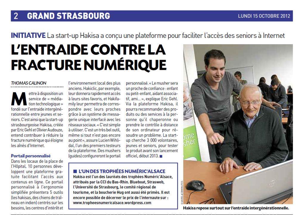 Article visible en deuxième page du quotidien 20 Minutes Strasbourg ce lundi 15 octobre