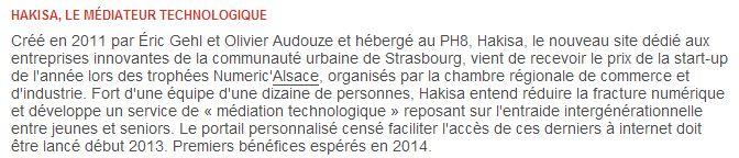 Hakisa cit dans l 39 hebdomadaire national usine nouvelle - Chambre de commerce et d industrie strasbourg ...