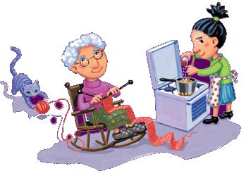 dessin mamie qui tricote