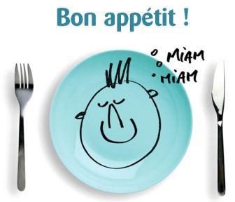 """assiette et couvert """"bon appétit"""""""