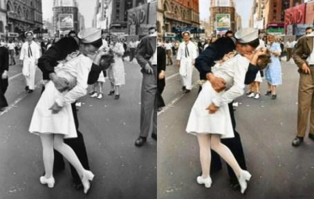 scène d'un baiser en noir et blanc puis couleur
