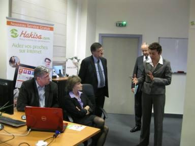 Isabelle Kuhn, Responsable Marketing d'Entela, Michèle Delaunay, Ministre déléguée des personnes âgées et Eric Gehl