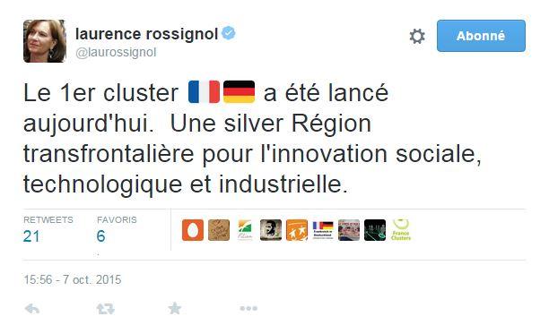 Laurence Rossignol annonce le lancement de la filière Régional Silver Eco dans un tweet