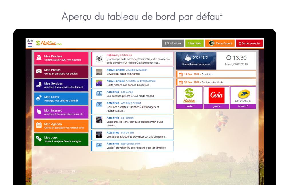 Aperçu de l'écran d'accueil par défaut sur le hub social Hakisa